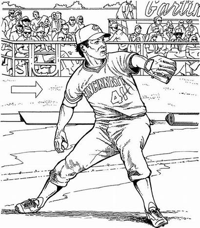 Coloring Pages Cincinnati Baseball Reds Sports Twins