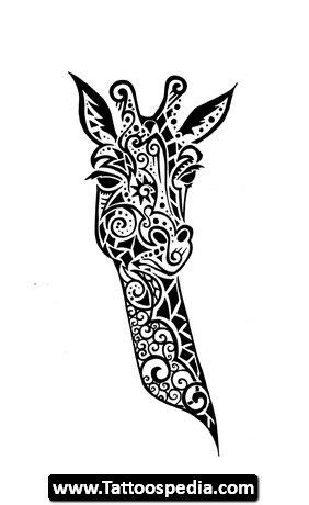 giraffe stencils elephant outline tattoo cute