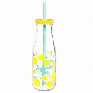 Verre Avec Paille : bouteille avec paille en verre citron maisons du monde ~ Teatrodelosmanantiales.com Idées de Décoration