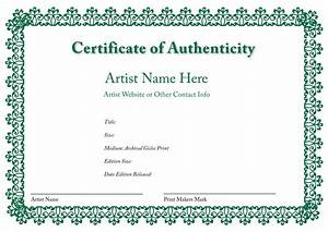 Blank certificates of authenticity for Certificates of authenticity templates