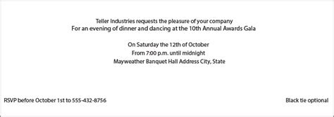 business invitation wording examples