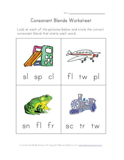 consonant blends worksheet three learning