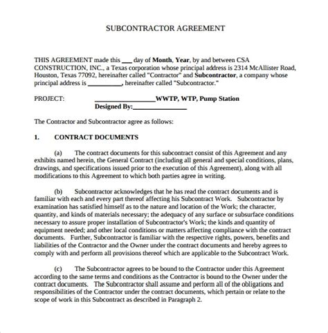 sample subcontractor agreements sample templates