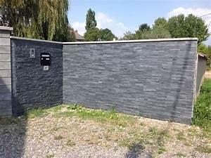 Muret De Cloture : photo mur d 39 entr e en plaquettes de parement cl ture ~ Melissatoandfro.com Idées de Décoration