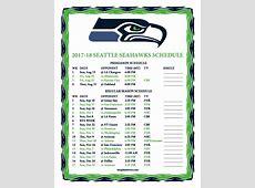 Printable 20172018 Seattle Seahawks Schedule