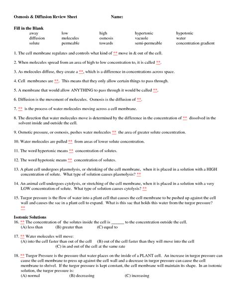 osmosis and diffusion review sheet answers 13 best of diffusion worksheet key osmosis and tonicity worksheet answer key diffusion