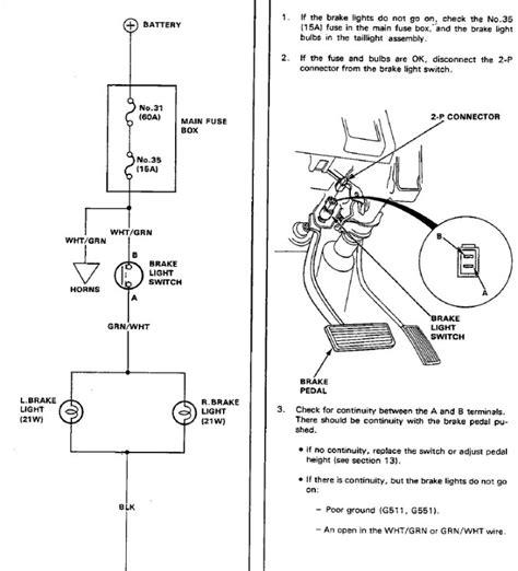 Honda Civic Wagon Wiring Diagram by 91 Civic Wagon Shuttle Brake Lights Not Coming On