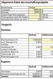 Leasing Berechnen Bwl : excel tool finanzierungsvergleich mit ms excel leasing ~ Themetempest.com Abrechnung