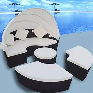 Rattan Lounge Rund : 2 in 1 rattan lounge set outdoor round sun bed with canopy black ~ Indierocktalk.com Haus und Dekorationen