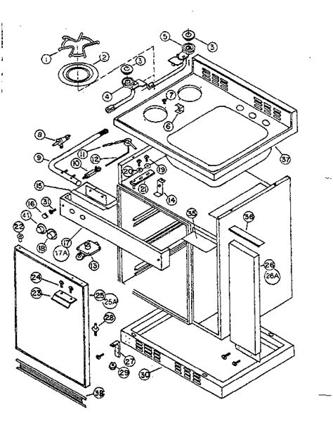 cabinet  gas unit diagram parts list  model