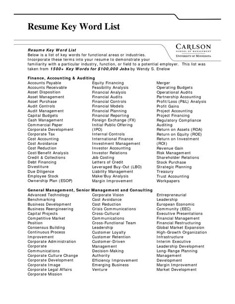 resume keywords list by industry quotes for all
