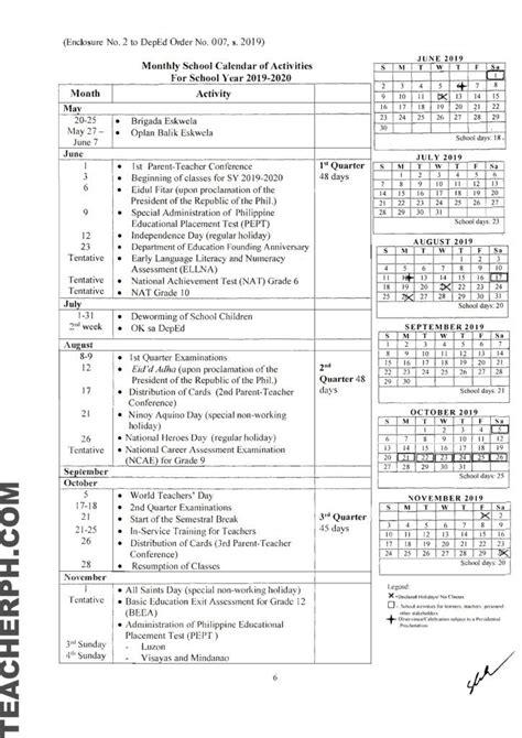 deped school calendar  school year