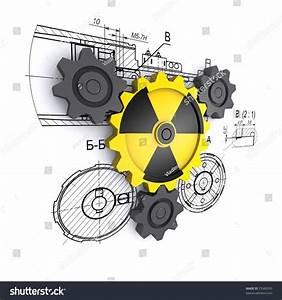 Radiation Gears Against Engineering Drawings Stock ...