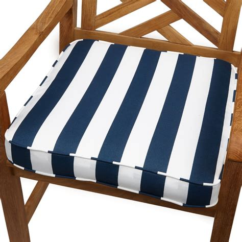 navy stripe 20 inch indoor outdoor corded chair cushion