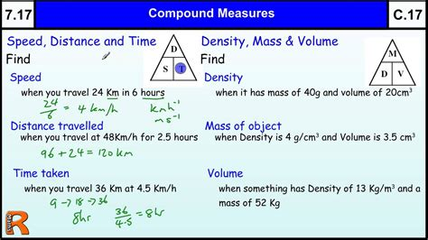 compound measures speed  density maths core skills