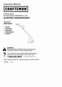 Craftsman 358745310 User Manual Electric Weed Trimmer