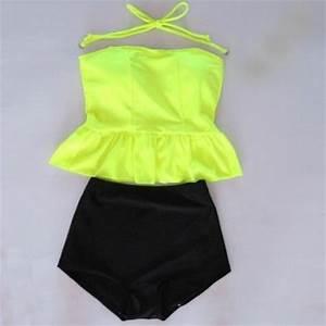 High Waisted Peplum Tankini Neon Yellow Black Swimwear