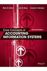 Core Concepts Of Accounting Information Systems 13th