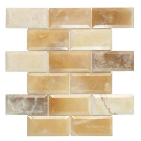Jeffrey Court Mosaic Tile Home Depot by Jeffrey Court Beveled 12 In X 12 In X 10 Mm Onyx Mosaic