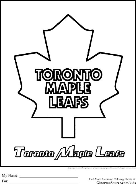 Toronto Maple Leafs Coloring Pages Gallery Coloring For