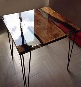 Table Resine Bois : mesa de centro comedor creado con madera de peral y resina ~ Teatrodelosmanantiales.com Idées de Décoration