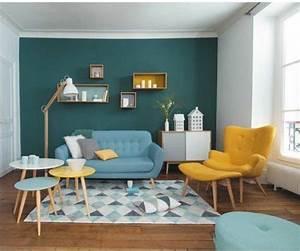 Mur Bleu Pétrole : couleur peinture salon conseils et 90 photos pour vous inspirer ~ Melissatoandfro.com Idées de Décoration