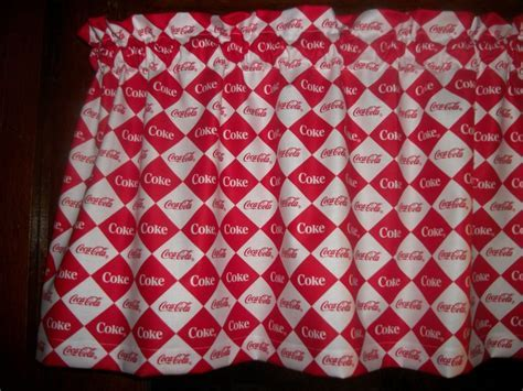 Coca Cola Coke Soda Squares Red Logo fabric curtain