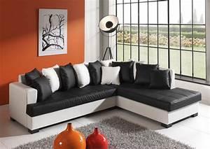 Canapé Noir Et Blanc : photos canap noir et blanc simili cuir ~ Teatrodelosmanantiales.com Idées de Décoration
