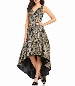 Calvin Klein V-Neck Metallic Sequined Lace Hi-Low Dress ...
