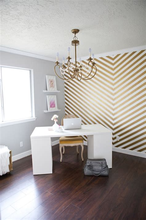 gold chevron wall contemporary denlibraryoffice