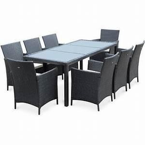 Table De Jardin Exterieur : salon de jardin tavola 8 noir en r sine tress e table d ~ Premium-room.com Idées de Décoration