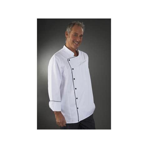 veste de cuisine noir veste cuisine blanche liseré noir col et manches pressions