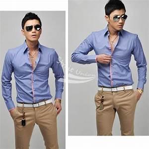 Hot New Korean Men's Fashion Stylish Casual shirts Slim ...