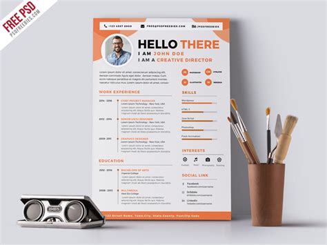 Designers Cv Template by Designer Resume Cv Psd Template Psdfreebies