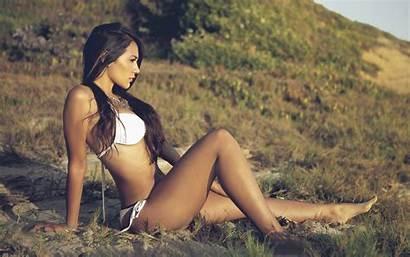 Brunette Bikini Beauty Swimsuit Legs Wallpapers Leg