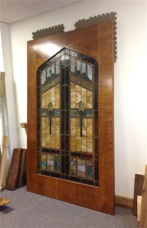 custom stained glass sliding barn door rustic living