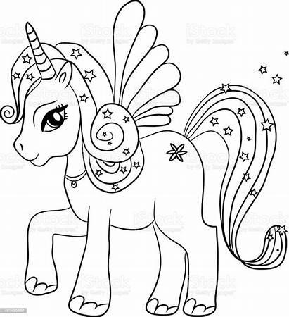 Unicorn Coloring Vector Illustration Sheet Activity Animal