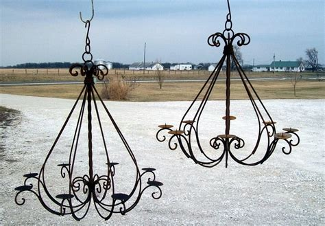 wrought iron braided candle chandelier outdoor patio