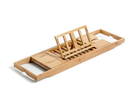 bamboo bathtub caddy tray organizer with book tablet phone wineglass holder