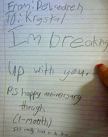 kid breaks   girlfriend    month
