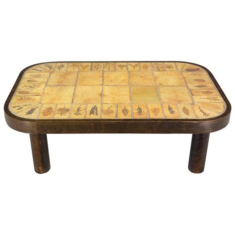 tile coffee table roger capron ceramic tile top coffee table for at 1stdibs