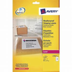avery weatherproof shipping label 991x57mm pack of 25 With avery weatherproof labels inkjet