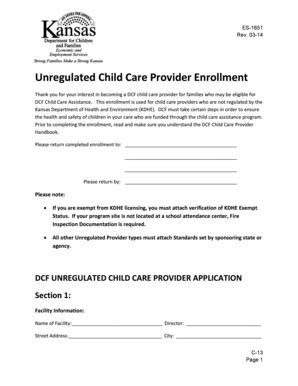 fillable online unregulated child care provider enrollment