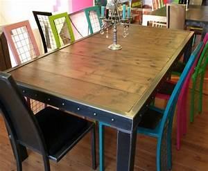 Table Salle Manger Bois Et Bords Mtal Table Salle