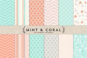 Mint & Coral Digital Paper Patterns ~ Patterns on Creative ...