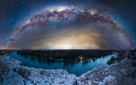 wallpaper  milky  stars river nature trees
