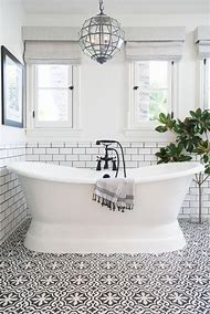 Black and White Bathroom Tile Cement