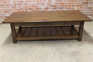 Reclaimed Wood Coffee Table With Shelf Lake And Mountain