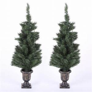 Winsome, House, 4, Ft, Pre-lit, Porch, Christmas, Trees, With, Led, Lights, Set, Of, 2, -wh137