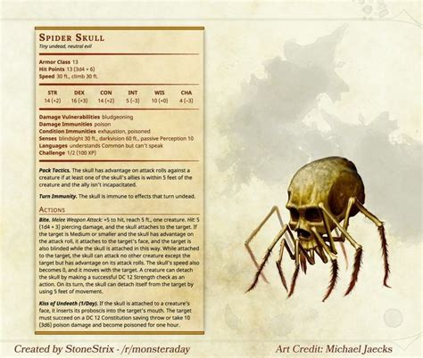 5e dragons dungeons dnd spider homebrew monsters skull spiders monster material edition stats characters stonestrix sylvan stalker lore community character